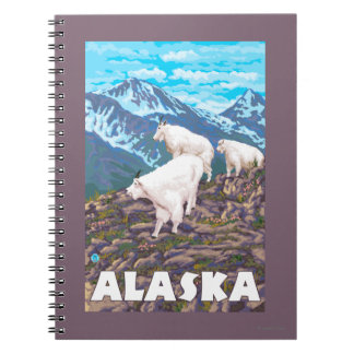 AlaskaMountain Goats Vintage Travel Poster Spiral Notebook