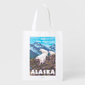 AlaskaMountain Goats Vintage Travel Poster Grocery Bags