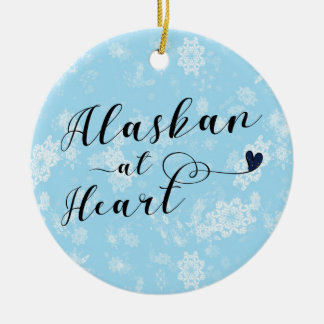 Alaskan at Heart, Christmas Tree Ornament, Alaska Christmas Ornament