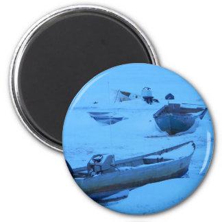 alaskan boat in winter refrigerator magnets