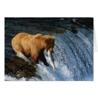 Alaskan Brown Bear Catching Salmon at Brooks Greeting Card