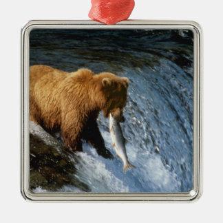 Alaskan Brown Bear Catching Salmon at Brooks Christmas Ornament