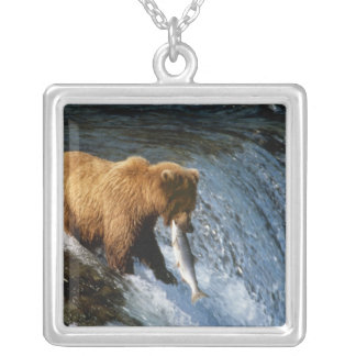 Alaskan Brown Bear Catching Salmon at Brooks Silver Plated Necklace