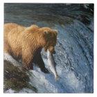 Alaskan Brown Bear Catching Salmon at Brooks Tile