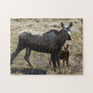 Alaskan Cow Moose with Calf Jigsaw Puzzle