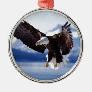 Alaskan Eagle In Flight Silver-Colored Round Decoration