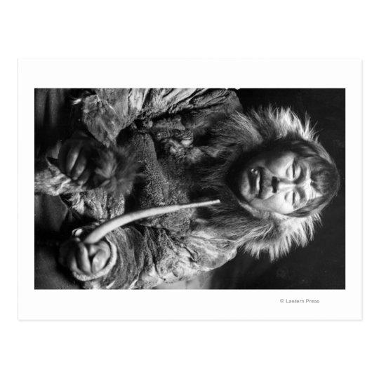 Alaskan Eskimo Smoking Pipe Photograph Postcard