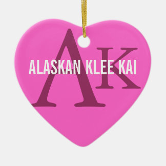 Alaskan Klee Kai Breed Monogram Ceramic Heart Decoration