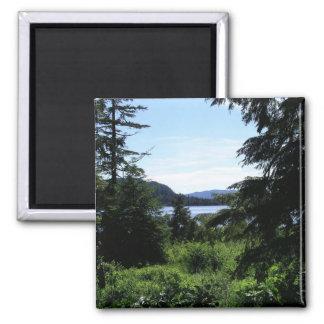 Alaskan Landscape Beautiful Alaska Photography Square Magnet