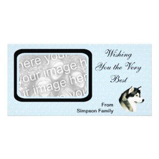 Alaskan Malamute ~ Blue w/ White Diamonds Photo Greeting Card