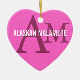 Alaskan Malamute Breed Monogram Ceramic Heart Decoration