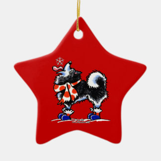 Alaskan Malamute Catch a Snowflake Ceramic Star Decoration