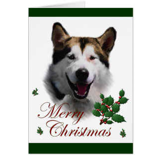 Alaskan Malamute Christmas Greeting Card