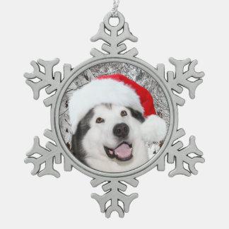 Alaskan Malamute Christmas Pewter Snowflake Decoration