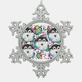 ALASKAN MALAMUTE - CHRISTMAS PEWTER SNOWFLAKE DECORATION