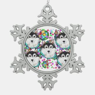 ALASKAN MALAMUTE - CHRISTMAS SNOWFLAKE PEWTER CHRISTMAS ORNAMENT