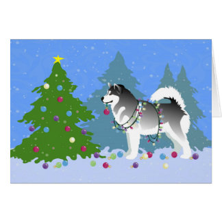 Alaskan Malamute Decorating Christmas Tree Card