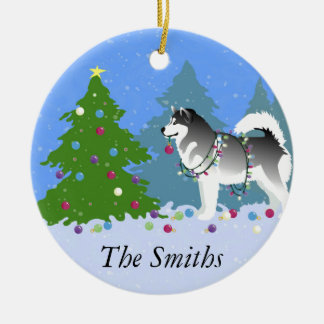 Alaskan Malamute Decorating Christmas Tree Christmas Ornament