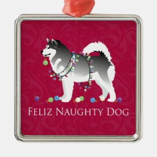 Alaskan Malamute Feliz Naughty Dog Christmas Silver-Colored Square Decoration