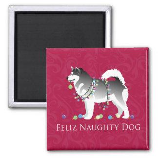 Alaskan Malamute Feliz Naughty Dog Christmas Square Magnet