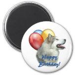 Alaskan Malamute Happy Birthday Balloons Fridge Magnet