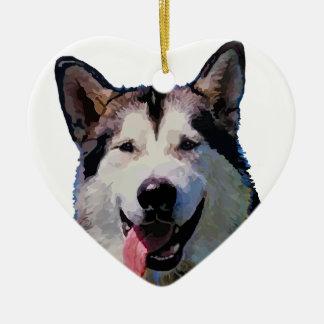 """Alaskan Malamute """"Kiska""""  Heart Ornament"""