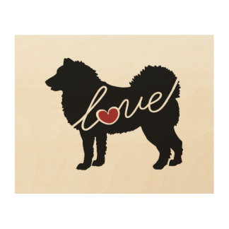 Alaskan Malamute Love Wood Wall Art