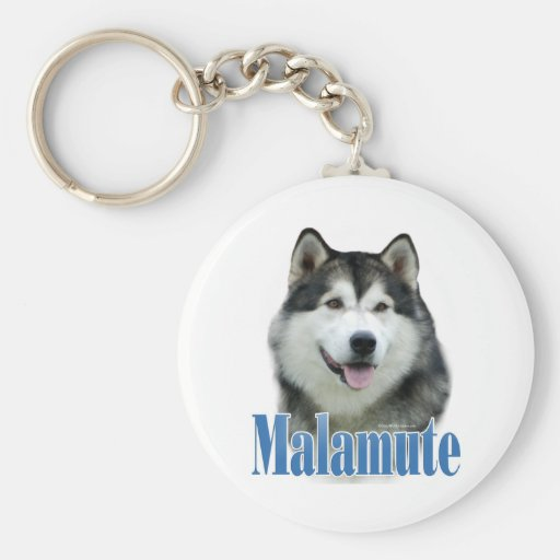 Alaskan Malamute Name Basic Round Button Key Ring