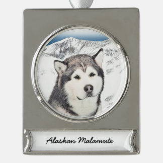 Alaskan Malamute Painting - Cute Original Dog Art Silver Plated Banner Ornament