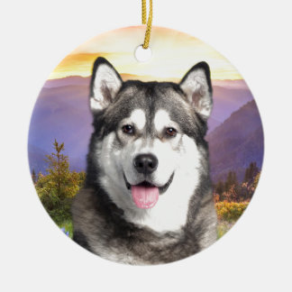 Alaskan Malamute Round Ceramic Decoration
