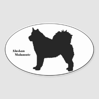 Alaskan Malamute SIlhouette Oval Sticker
