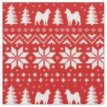 Alaskan Malamute Silhouettes Christmas Pattern Fabric