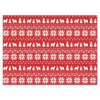 Alaskan Malamute Silhouettes Christmas Pattern Tissue Paper
