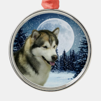 Alaskan Malamute Silver-Colored Round Decoration
