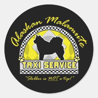 Alaskan Malamute Taxi Service Classic Round Sticker