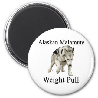 Alaskan Malamute Weight Pull 6 Cm Round Magnet