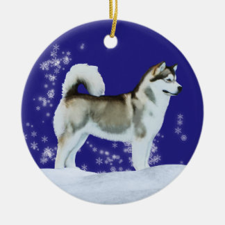 Alaskan Malamute Winter Ornament