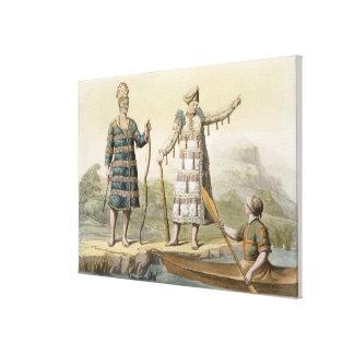 Alaskan man and woman (colour engraving) canvas print