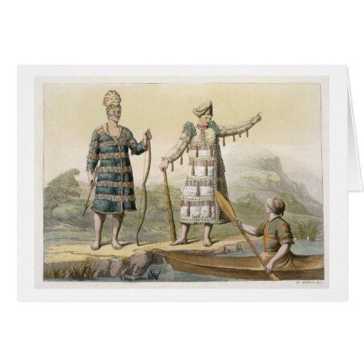 Alaskan man and woman (colour engraving) greeting cards