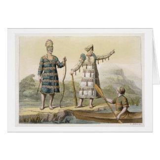 Alaskan man and woman (colour engraving) greeting card