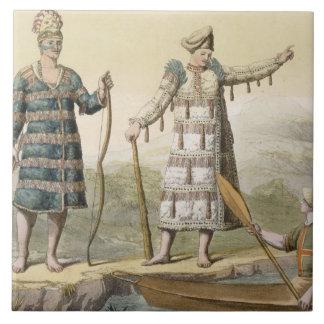 Alaskan man and woman (colour engraving) large square tile