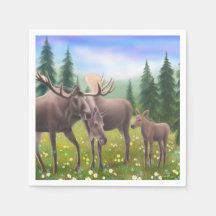 Alaskan Moose Family Paper Napkins
