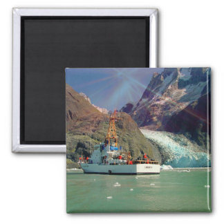 Alaskan Mountain View with Boat Fridge Magnets