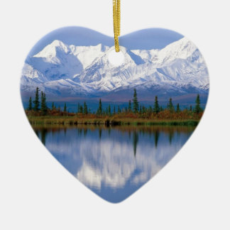 Alaskan Mountians Ceramic Heart Decoration