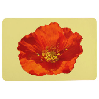 Alaskan Red Poppy Colorful Flower Floor Mat