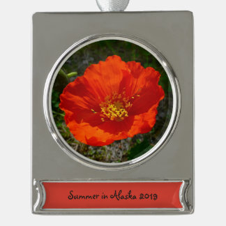 Alaskan Red Poppy Colorful Flower Silver Plated Banner Ornament