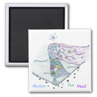 Alaskan Sea Maid with Sea Creatures Square Magnet