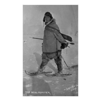 Alaskan Seal Hunter with Snowshoes Photograph Poster