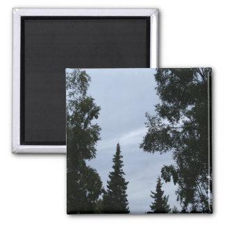 Alaskan sky square magnet
