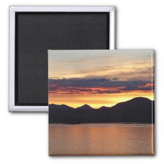 Alaskan Sunset I Beautiful Alaska Photography Square Magnet